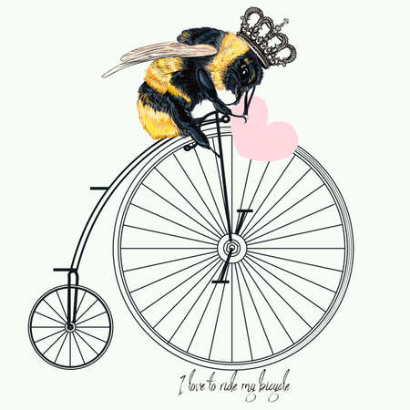 Fashion apparel print bumble bee on bicycle with crown Çizim