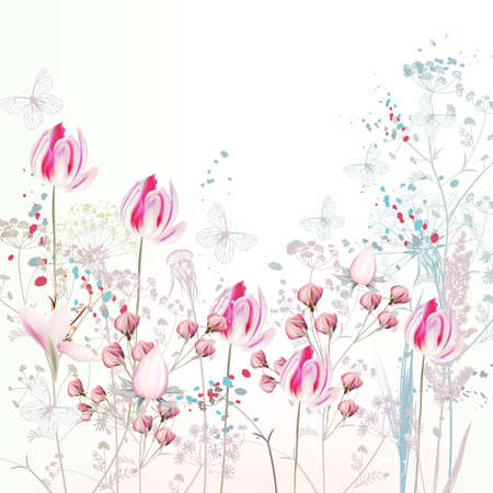 Floral spring illustration with pink tulip flowers, plants and butterflies