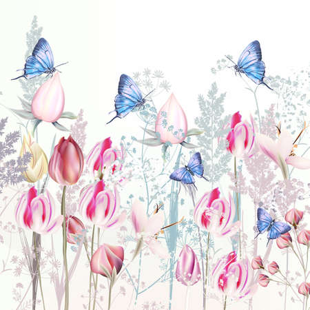 Illustration with gentle vector pink tulip and crocus flowers, blue butterflies, spring style Çizim