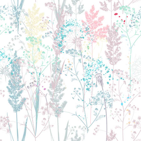 Floral rustic vector seamless pattern with colorful pastel plants for design