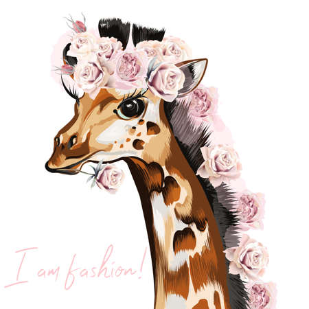 Fashion vector illustration with giraffe and roses. I am style Çizim