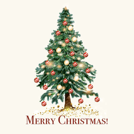 Christmas and New Year illustration with Xmas tree Çizim