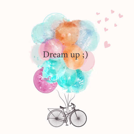 Cute vector bicycle with colorful pink and blue balloons