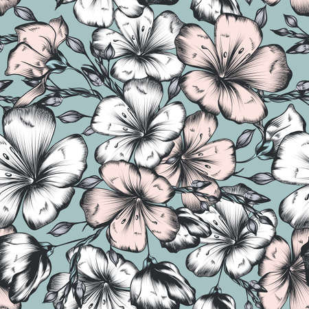 Floral vector hand drawn seamless pattern with flowers for textile design