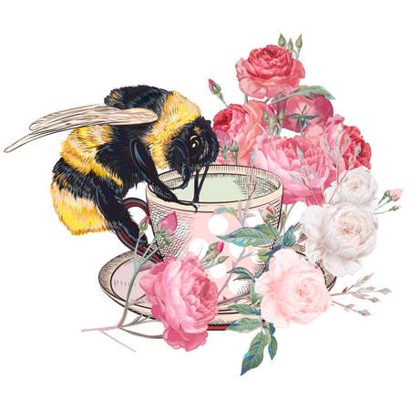 Fashion illustration with vector bumble bee, cup and rose flowers