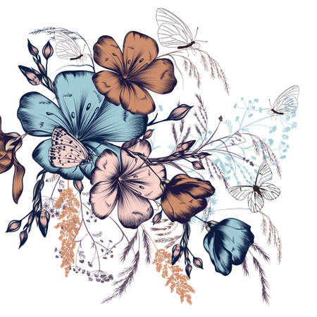 Fashion illustration with flowers ad butterflies for design