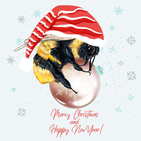 Christmas vector illustration bumble bee holding bauble, fashion concept