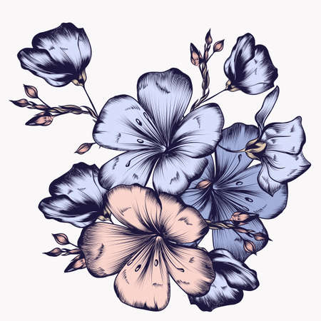 Floral illustration with hand drawn flowers in vintage style