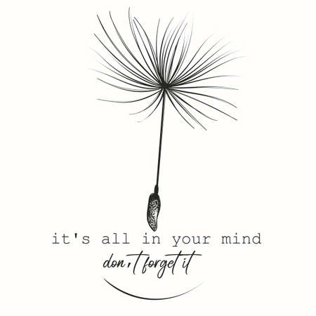 Creative fashion conceptual illustration print with dandelion seed, it's all in your mind Çizim