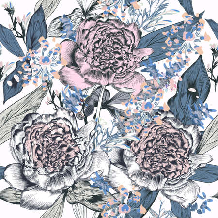 Beautiful vector illustration with peony flowers in vintage realistic style