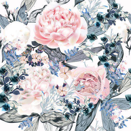 Beautiful vector pattern with pink and white peony flowers in vintage style