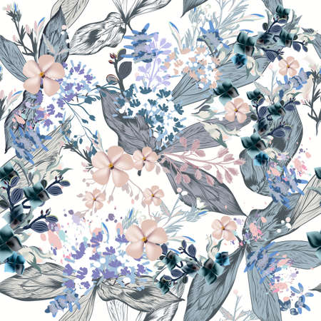 Elegant vector pattern with leaves and flowers for design Çizim