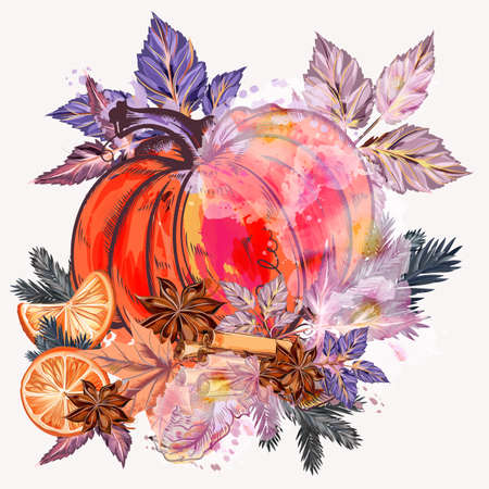 Christmas vector illustration pumpkin with anise stars, oranges and tree branches
