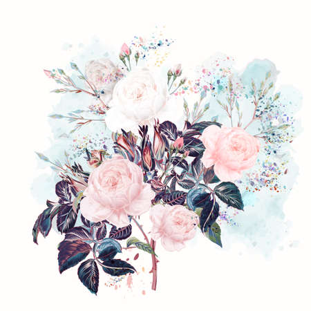 Beautiful vector rose flowers in watercolor style