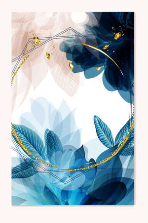 Abstract vector template in blue color with florals Çizim