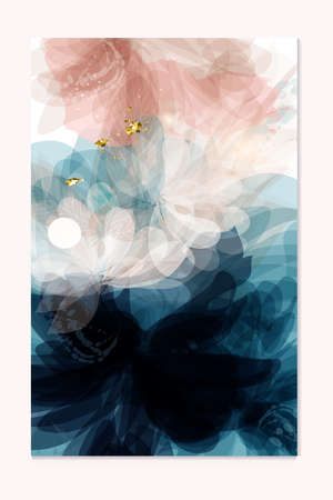 Abstract vector template in floral style deep blue and soft pink colors for wedding invitations