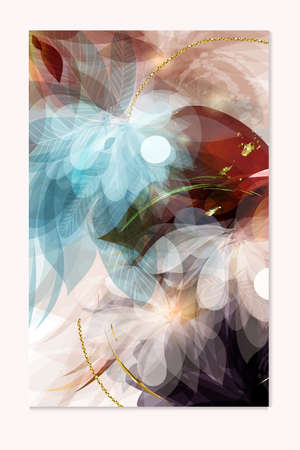 Abstract vector brochure template in floral style