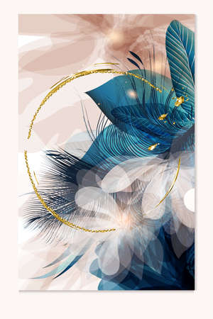 Brochure vector design, abstract templates in blue and pink colors with feathers and sparkles