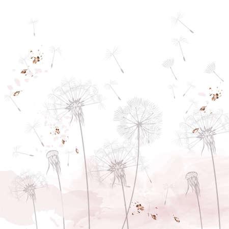 Dandelion vector illustration, rustic minimalist style, dreaming morning scene, soft pink, white clean background Çizim