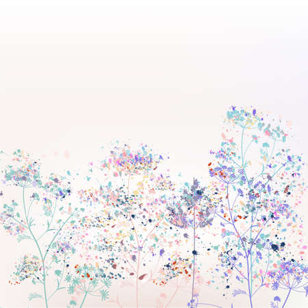 Beautiful abstract vector floral illustration with plants and paint spots Çizim