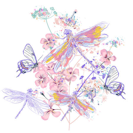 Beautiful vector illustration with flowers and dragonflies, spring time, vintage style Çizim