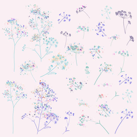 Collection of vector rustic elegant florals, plants, flowers in vintage watercolor style