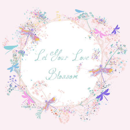Cute vector greeting card with rustic pink blue florals and dragonflies, romantic illustration