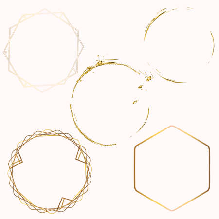Collection of abstract vector golden frames for design