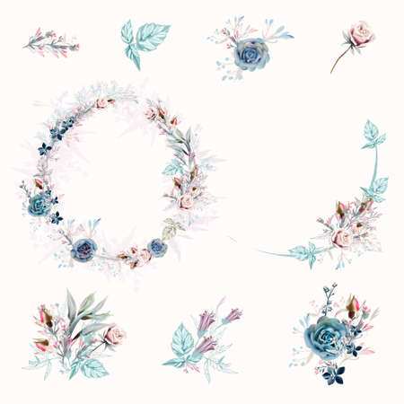 Collection of soft cute vector compositions roses, succulents and leaves for wedding design Çizim