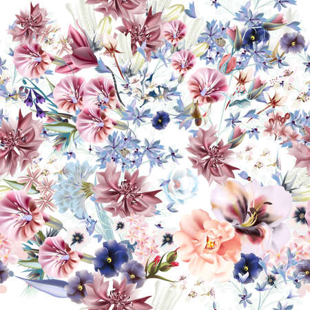Floral spring illustration with pink bells flowers and plants Çizim