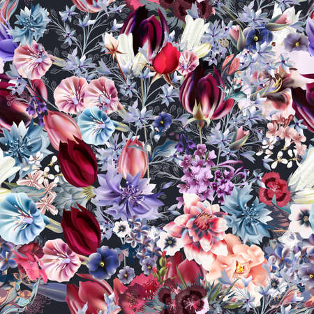 Beautiful vector seamless flower pattern in vintage style with tulips, bells, cornflowers, roses, lilac Çizim