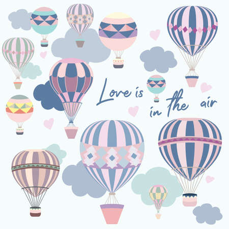 Cute vector illustration with pink and blue air balloons Çizim