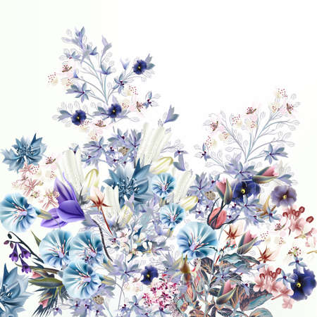 Light floral vector illustration with spring and summer field flowers