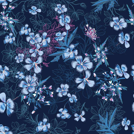 Vector seamless pattern with hand drawn flowers in blue color Çizim