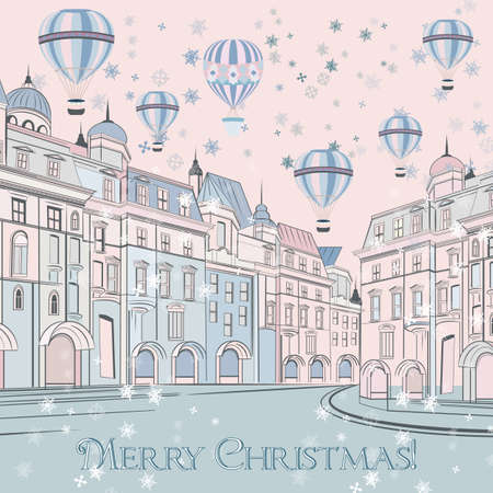Christmas vector illustration, vintage greeting card with street and air balloons Çizim