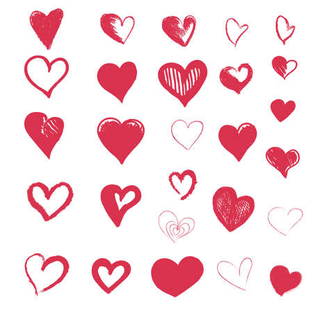 Hand drawn vector hearts, collection of design elements for Valentine's day
