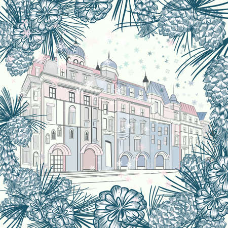 Christmas vector greeting card with fur branches and vintage city building