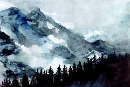Beautiful nordic watercolor mountain landscape with pine trees, capes and sky Stok Fotoğraf
