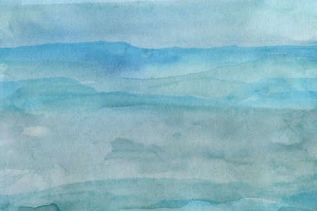 Blue watercolor abstract texture in abstract style, mountains, sky, ocean, water Stok Fotoğraf