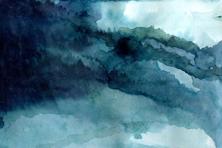Blue watercolor indigo color abstract landscape mountains nordic style