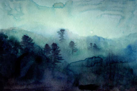 Foggy mountains and forest, hand painted watercolor art, nordic style