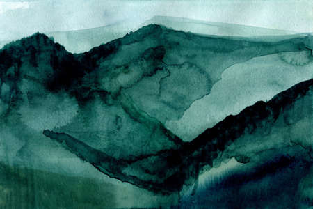 Nordic style watercolor abstract forest landscape with green mountains