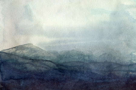 Abstract watercolor elegant texture in blue color foggy mountains, sky, water Stok Fotoğraf