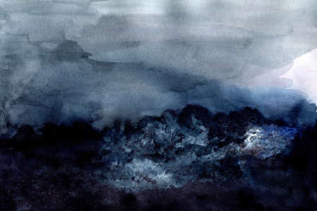 Dark foggy mysterious forest and cloudy sky, hand painted watercolor in nordic style Stok Fotoğraf