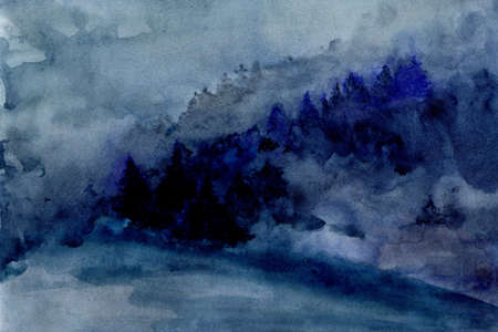 Abstract blue mountain landscape in nordic minimalist style