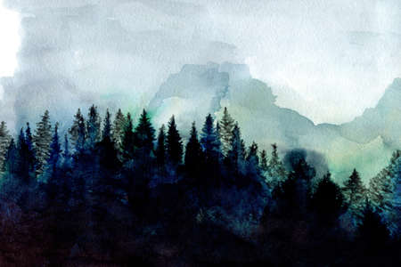Hand painted watercolor forest, nordic minimalist style