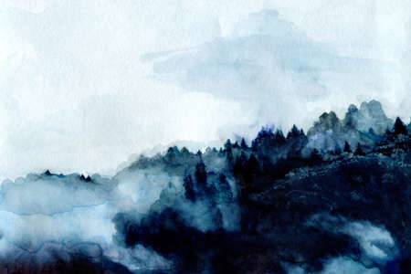Foggy indigo mountains and forest, hand painted abstract watercolor