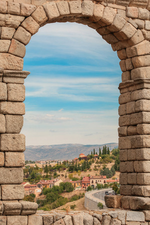 Old town in Segovia, Spain. View from aqueduct Stock Photo