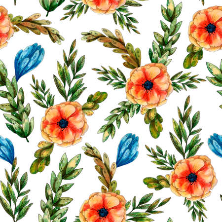 Watercolor hand drawn floral pattern