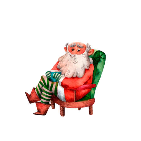 Watercolor illustration of cute Santa Claus. Funny hand drawn character. Christmas illustration. Sitting character. Traditional cartoon Santa. Isolated decorative illustration for prints and cards.